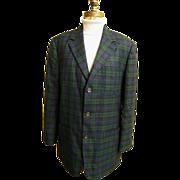 Men's Black Watch Plaid Wool Sports Jacket Coat..J Crew..Size Medium