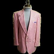 Men's Pink Silk Herringbone Weave Sports Jacket..1960's-60's..Dale Alan..