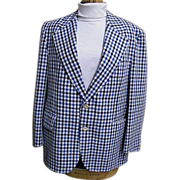 Men's Navy/Blue/White Seersucker Sports Jacket By Palm Beach..1960's..Arnel/Cotton Blend..44 Short..Excellent Condition!