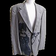 """Men""""s Blazer..Boy Screen Print..Glen Plaid Wool..Wallachs..1970's"""