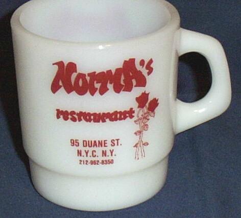 Vintage Norma's Restaurant Advertising Mug...Duane Street..N.Y.