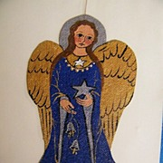 Medieval Angels..Hand Painted Acrylic On Canvas..Ornaments..Blue Angel..Green Angel..2 Angels