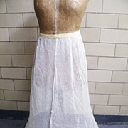 """Vintage Hoop Long Petticoat of Muslin Net..Hoop Diameter 30"""""""