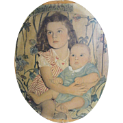 Vintage Oval 1942 Colored Photograph On Canvas of Sister Holding Baby Brother..On Canvas..Moun