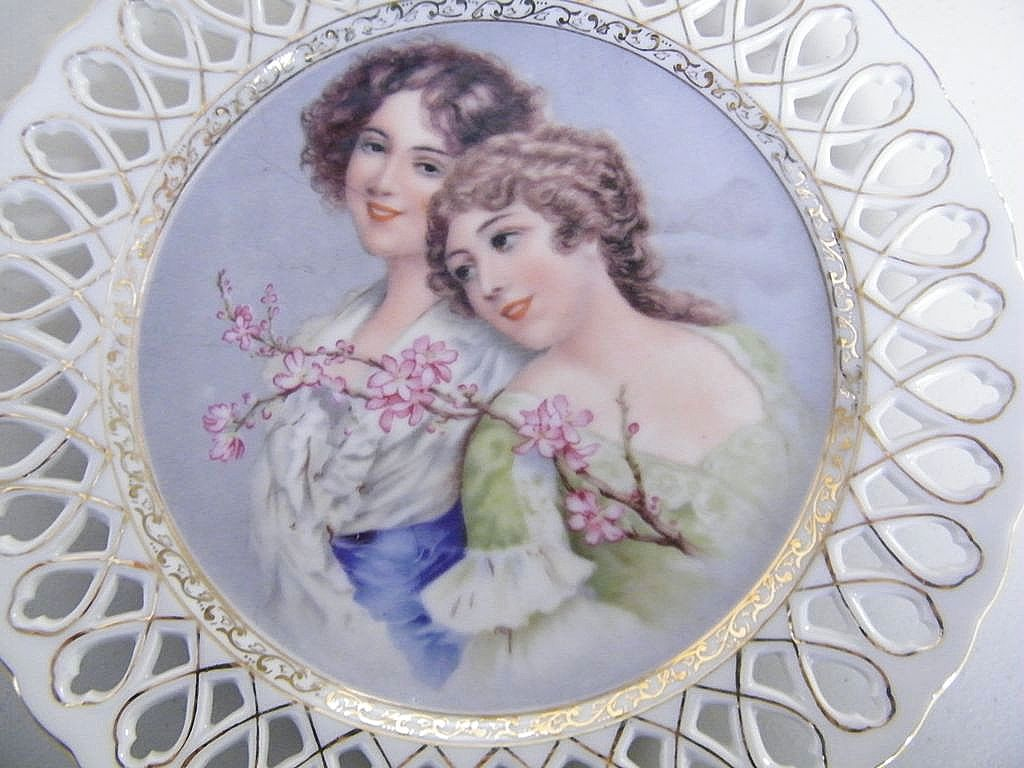 Victorian Women...Reticulated  Display Plates Pair