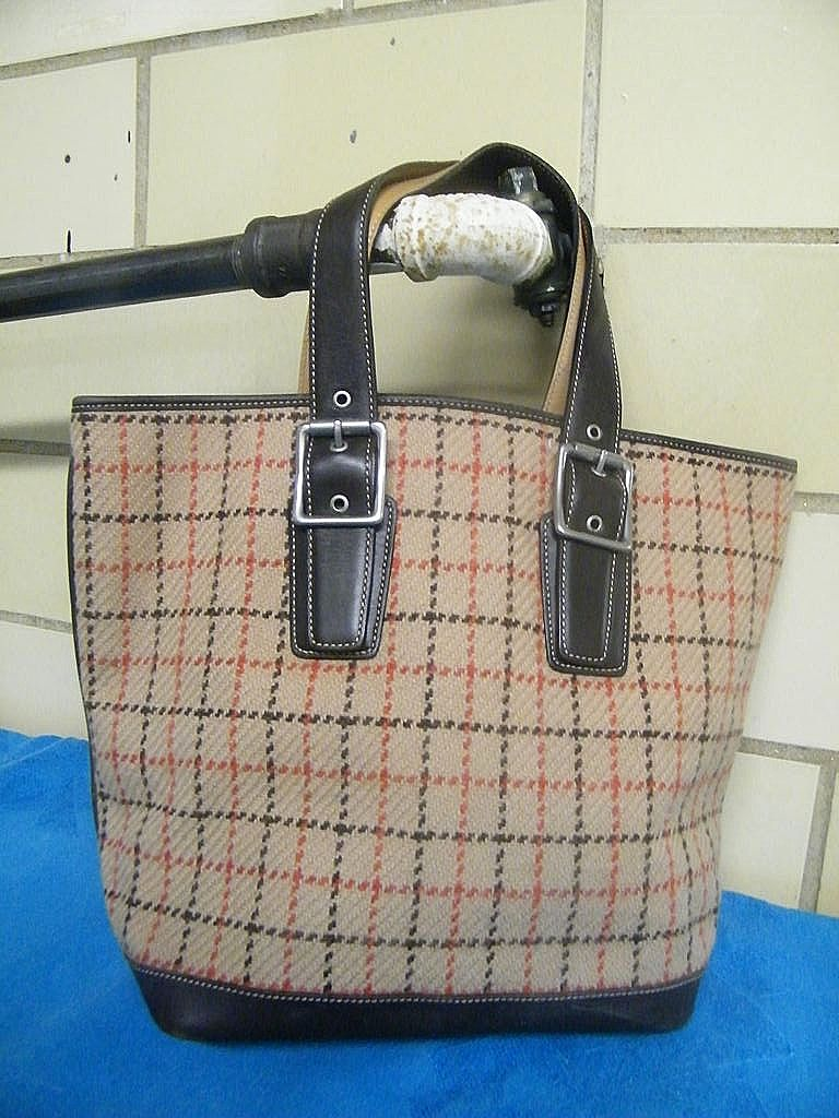 Coach Tattersall Check Or Windowpane Wool... Tote Bag.. Excellent Condition