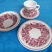 McNichol Hungarian Rose Garland Transferware.. Mug & Saucer/Soup Bowls/Luncheon Plate.. Restaurant-Ware..Set Of 6