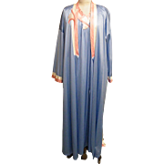 Vanity Fair Robe Gown Set..Tricot..Blue With Coral & White Quilted Accents..Robe Large / Gown