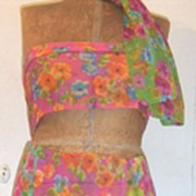 Vintage..Triple Sheer Rayon Floral Scarves From Japan In 4 Brightly Colored Grounds To Select From...NEW CONDITION