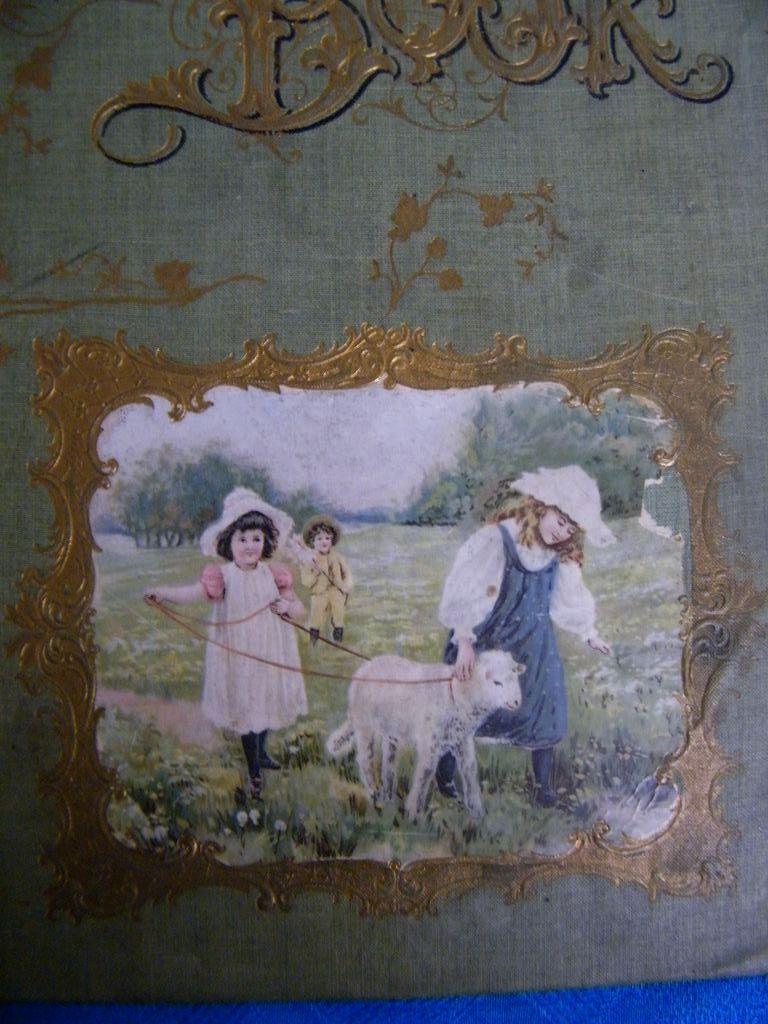 Antique Victorian Scrap Book Cover..Children In Field With Lamb
