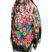 Large Gypsy Wool Challis Shawl..1950's..Black Ground..Red & Turquoise Cabbage Flowers..Long Fringe..Excellent Condition