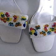 Vintage CAPARROS Beaded HH Sandals..White Satin..Butterfly Beading..Size 10 B..Never Worn!