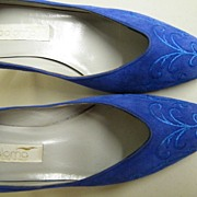 "Vintage Bright Blue Suede Shoes..3"" Heels..PALOMA Italy..Embroidered..7.5 N..Worn Once!"