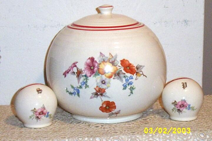 Kitchen Ware Pottery Round Cookie Jar And Shaker set in A Wild Poppy Design
