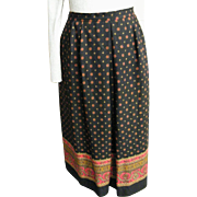 Gypsy Wool Challis Printed Skirt...Lined...Un-Pressed Pleated Front..Streight Back..USA..Large