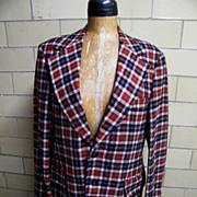 Vintage 1960'-70's Men's Sports Jacket Coat..Rust / Navy / Beige Tattersall Check..Wool..Anders Fine Clothing