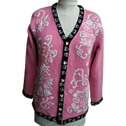 Pink Valentine Sweater By Storybook Handknits..Cotton & Ramie..Size Small..Excellent Condition