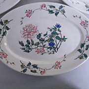 """Syracuse China Large Oval Dinner Platter Or Serving Dish..Peony Design...11.5""""X8""""..Set Of 4"""
