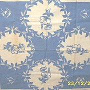 Vintage Blue And White Floral Medallion Tablecloth Cotton Sailcloth