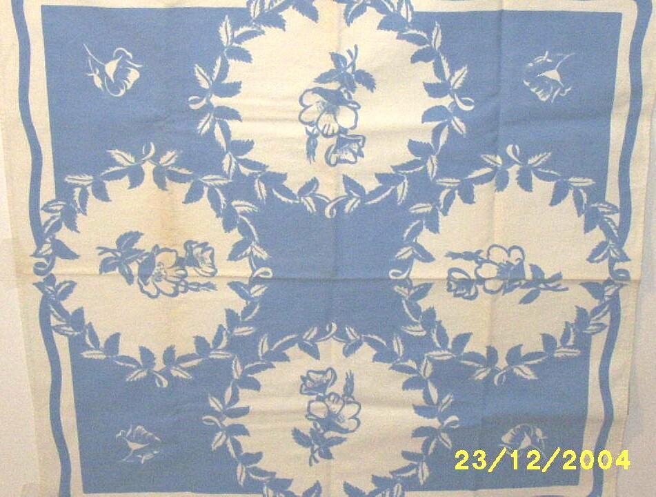 Vintage Blue And White Floral Medallion Tablecloth Cotton Sailcloth