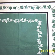 Vintage Green And White Ivy Cotton Printed Tablecloth [48 X 51]