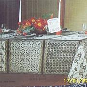 Vintage..Green Indonesian Inspired Hand Blocked Batik Printed...Tablecloth / Napkins...NEW Sto