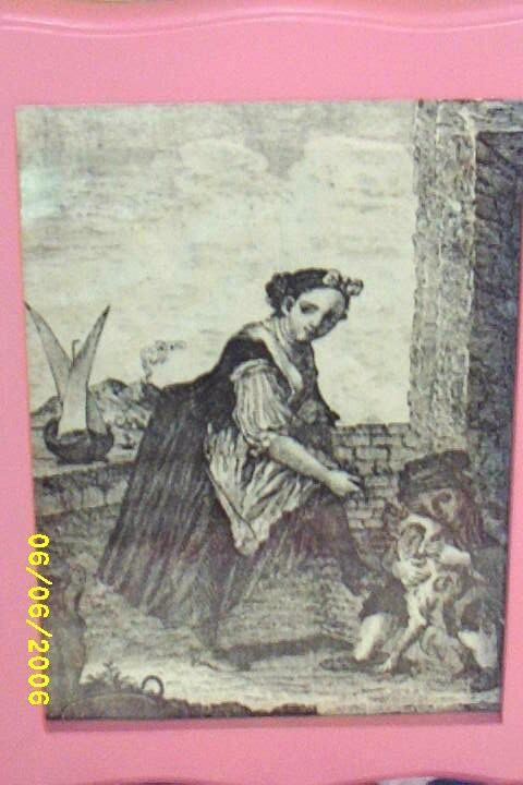 Antique Toile de Jouy Woman..Child..Dog..Copper Engraved Framed Print..Cotton Sateen