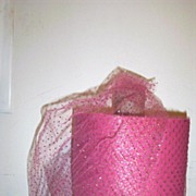 Coral Pink Netting Trim With Gold Flecks By The Yard