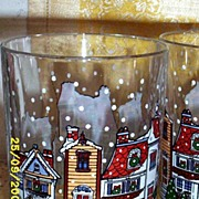 Old Times Row Houses High Ball Tumblers With Snow Falling...Set Of FOUR