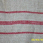 Vintage Turkey Red Striped Heavy Linen Runner...Extra Long..90""