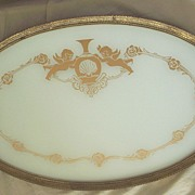 Vintage..Large Putti / Cherub Design Vanity Tray With Embossed Metal Trim & Glass Enclosed..Different