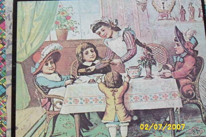 Antique..Victorian French Children Wood Block Picture Puzzle..Wood Box..Picture Cards