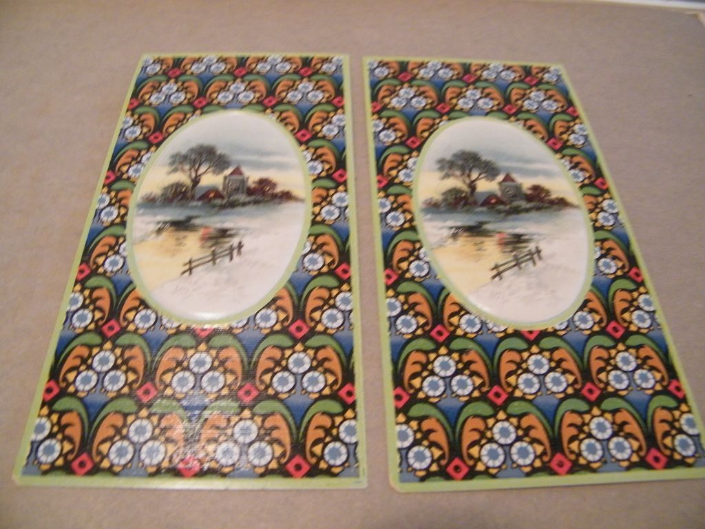 Victorian Cardboard Box Inserts...Country Winter Scene Cameo..Tile Design Background..New Condition..Set Of 2