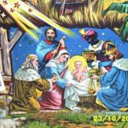 Large..Victorian Vintage Paper..Nativity Scene..Gloria In Excelsis Deo..Die-Cut..Embossed..Germany