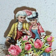 Victorian Couple Greeting Card..3_D..Fold-Out-.Die-Cut..Embossed..Stand-Up..Germany