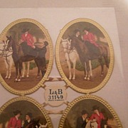 Victorian Paper Scraps Oval Horse Cameos..Riding Show..4 Views To Set..New Condition