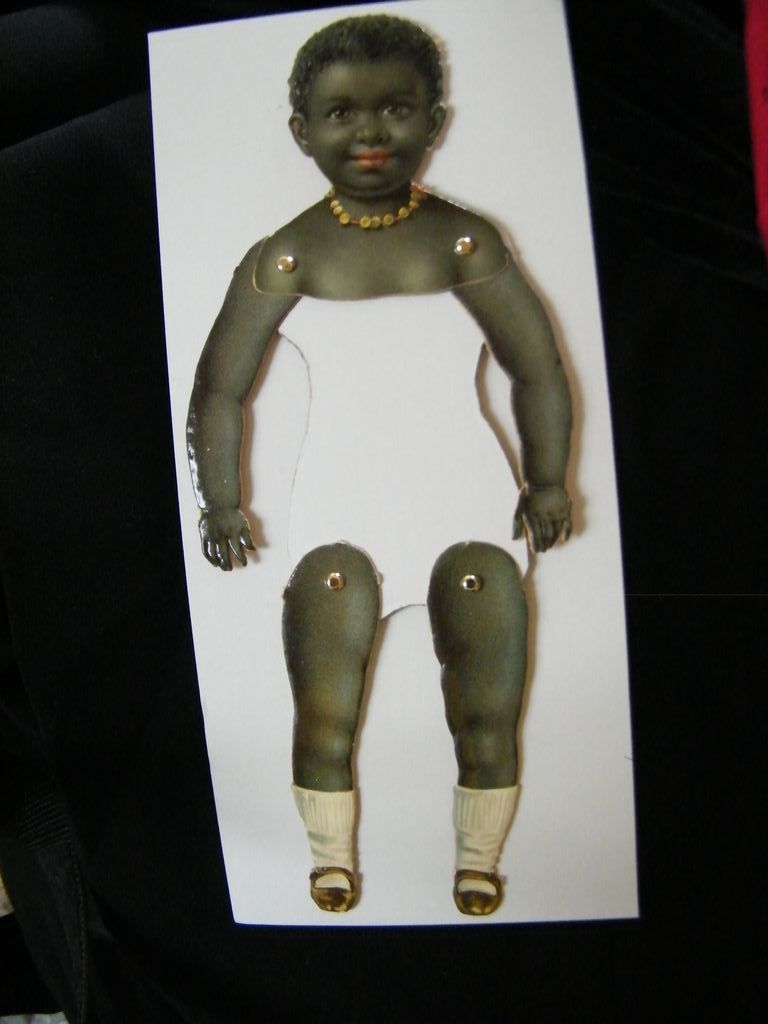 Victorian BLACK BABY Puppet Wearing Black Mary Jane's & Pearl Necklace..New Old Stock..2 Available