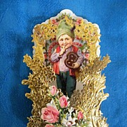 Victorian Valentine Boy Holding Ginger Bread HEART Cookie..German..Die-Cut Embossed..Pop-Up..M