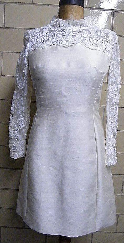 PRINCESS Style Wedding Dress..Shantung & Lace..1960's..Size 12..Excellent Condition