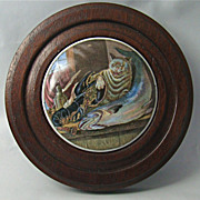 """English Prattware Lid with Cat, Lobster and Fish Motif, """"Lobster Sauce"""" – Circa: 1840's"""