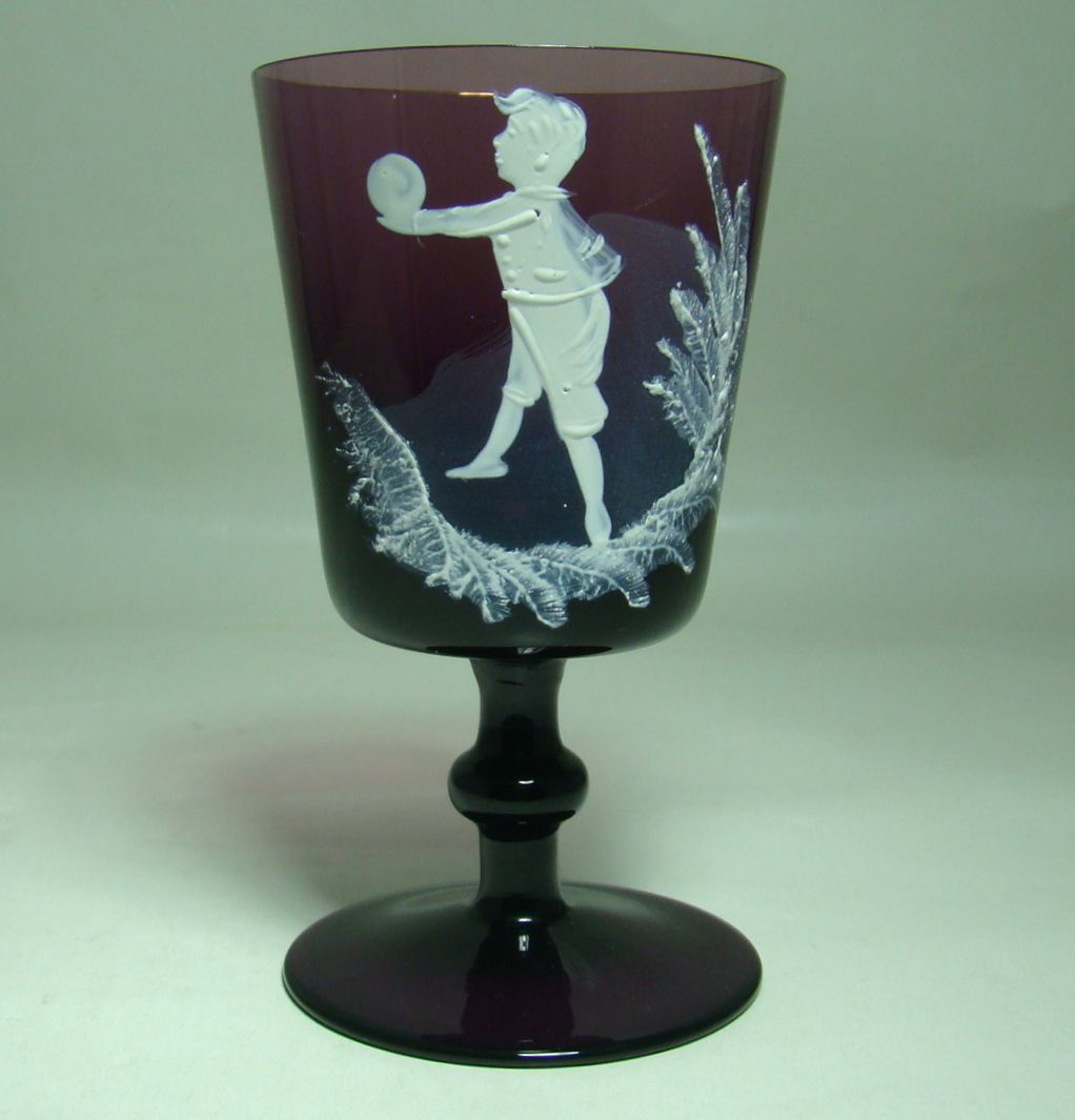 Mary Gregory Amethyst Wine Glass – Boy at Play