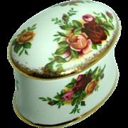 "Oval Trinket Box ""Old Country Rose"" – Royal Albert, Bone China, England"