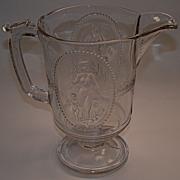 Early American Pattern Glass Pitcher Minerva/Cupid & Venus Pattern
