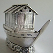 1890 Sterling Silver Salt or Pepper or Spice Shaker in a Miniature House Boat Form