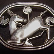 Georg Jensen Art Nouveau Kneeling Deer Sterling Silver Brooch – Design #256