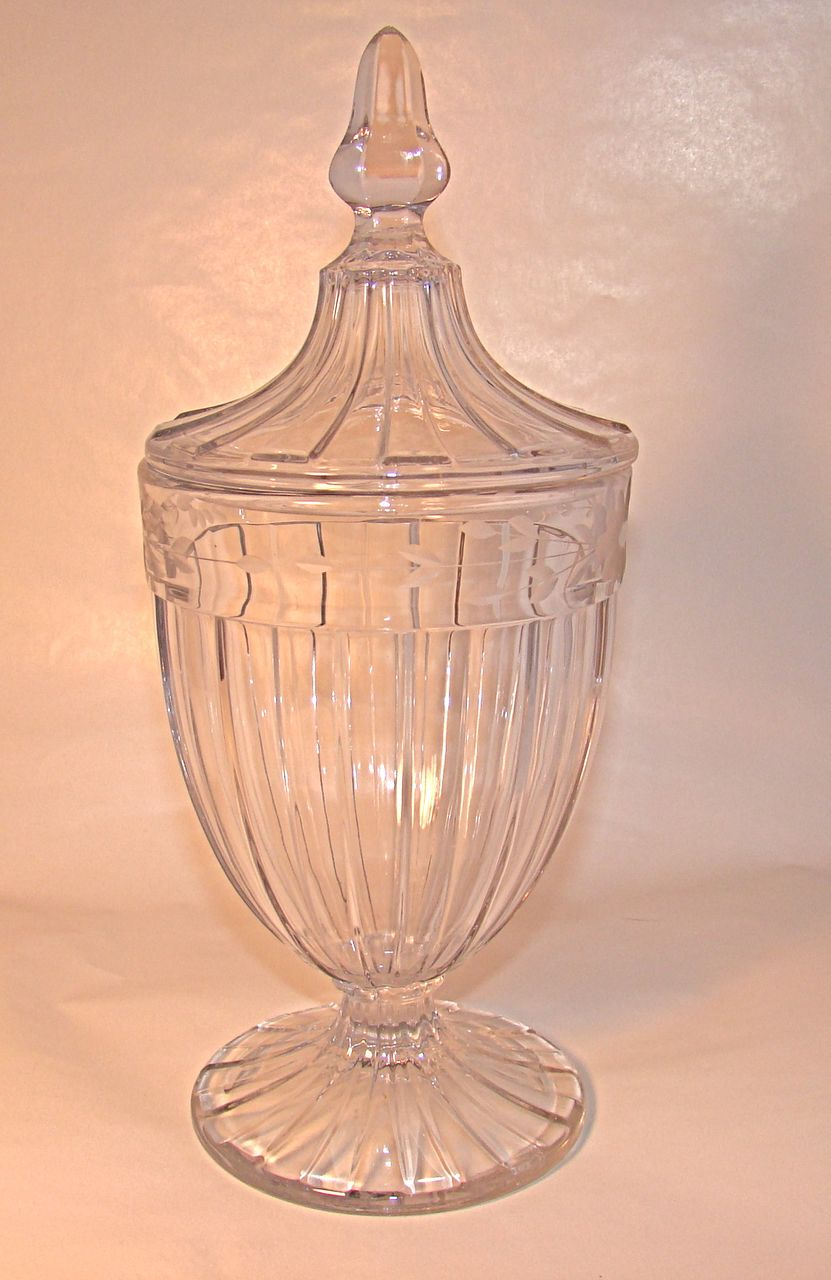 Heisey Glass Covered Candy Jar with Floral Etchings