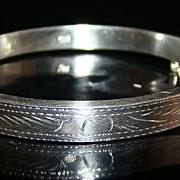 Vintage Sterling Silver Bangle Bracelet with Decorative Engraving