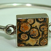 Mexican Sterling Silver Bangle Bracelet Set With Sandstone