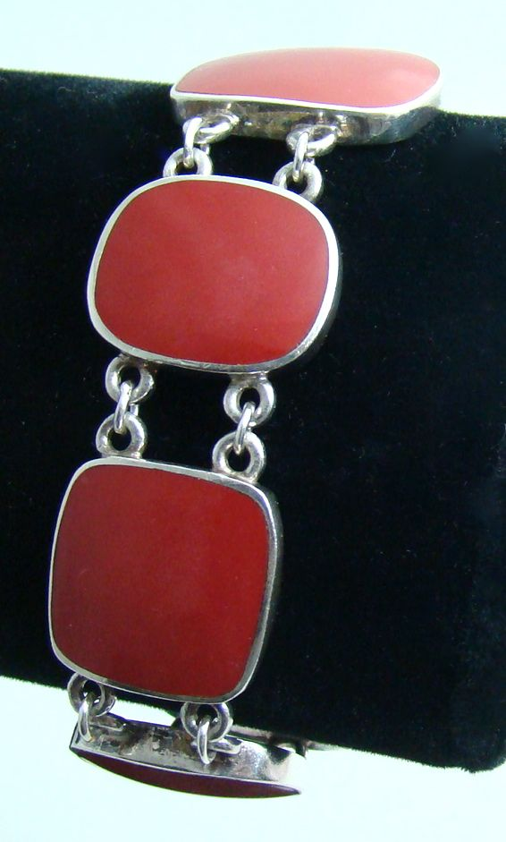 Native American Sterling Silver Bracelet Set with Five Red Coral-Like Stones