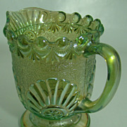 "EAPG Iridescent Green ""Shell and Jewel"" Cream Pitcher – Westmoreland Specialty Glass C0.  – Circa: 1893"
